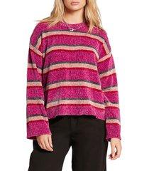 women's volcom bubble tea chenille sweater, size xx-large - pink
