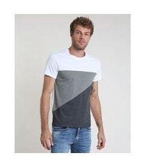 camiseta masculina slim com recortes manga curta gola careca chumbo