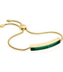 monica vinader engravable baja stone bracelet in yellow gold/green onyx at nordstrom