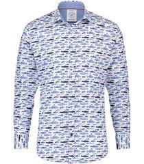 overhemd vissen blauw
