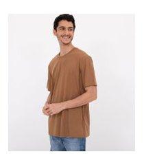 camiseta manga curta malhão lisa easy | blue steel | marrom | p
