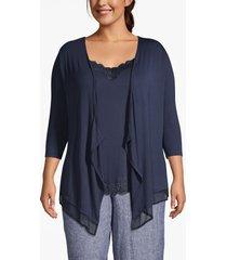 lane bryant women's chiffon-trim drape-front cardigan 22/24 dark water