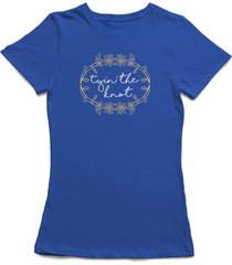 tyin' the knot florar wedding wreath women's royal blue t-shirt
