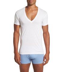 men's 2(x)ist slim fit pima cotton deep v-neck t-shirt, size large - white