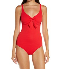 women's melissa odabash lisbon knotted one-piece swimsiut, size 4 - red