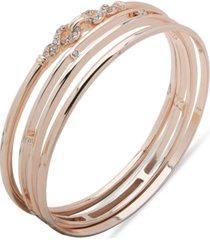 anne klein rose gold-tone 3-pc. set pave bangle bracelets