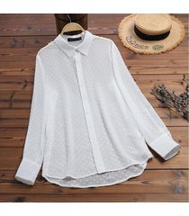 zanzea mujeres botones abajo largo tapas de la camisa señoras flojas de la solapa de tapas de la blusa del tamaño extra grande -blanco