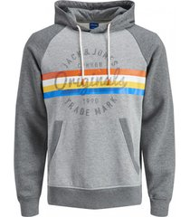 sweater jack & jones 12189564 jorbright sweat hood light grey mela/sweat