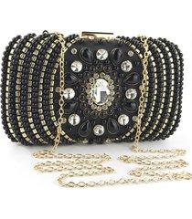 bolsa clutch liage festa bordada pedraria pedra cristal alça alcinha removível metal preta dourada