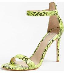neonowe sandały na obcasie w wężowy print model kahlua