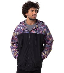 jaqueta corta vento long island floral bordo - vinho - masculino - dafiti