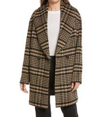 avec les filles plaid shawl collar coat, size medium in camel/black houndstooth at nordstrom