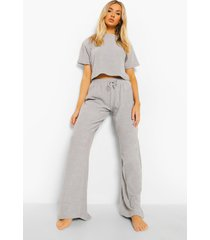 woman badstoffen crop top, grey
