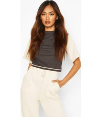 geribbelde contrasternde colour block crop top, dark grey