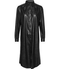 vegan leather - asia dress b knälång klänning svart sand