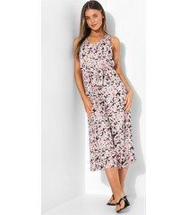 bloemenprint cullotte jumpsuit met ceintuur, pink