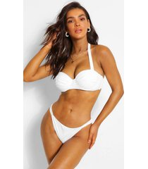 fuller bust ruched cup underwire bikini top, white