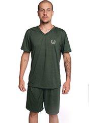 pijama serra e mar modas masculino liso manga curta verde escuro - verde - masculino - poliã©ster - dafiti