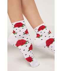 calzedonia mexican style ankle socks woman white size tu