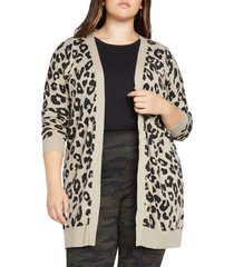 plus size women's sanctuary play leopard spot open cardigan, size 3x - beige