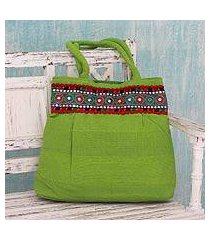 cotton shoulder bag, 'lime delight' (india)