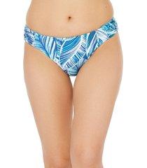 women's la blanca sketched reversible bikini bottoms, size 4 - blue