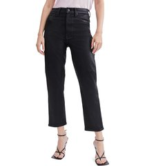 7 for all mankind women's high-waisted cropped coated jeans - black - size 23 (00)