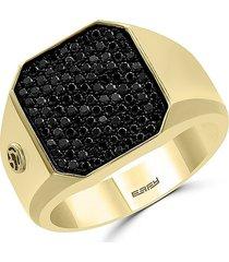effy men's 14k yellow gold & black diamond ring - size 10