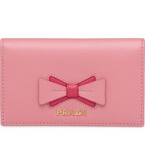 prada bow-detail folding wallet - pink