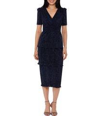 women's xscape glitter midi pencil dress, size 14 - blue