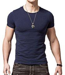 camiseta hombres manga corta slim fit mts408 azul