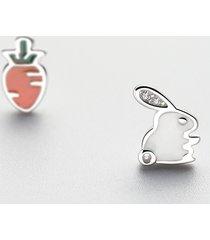 orecchini in argento sterling 925 carini asimmetrici con carota orecchini alla moda in zirconi piercing alla moda