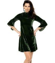 vestido bisô manga flare veludo feminino