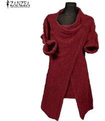 zanzea invierno de las mujeres cuello de la capucha jumper capa de la chaqueta del suéter blusas tops outwear el jersey rojo -rojo