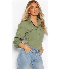 geweven utility shirt, kaki