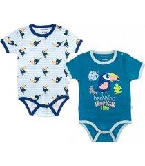 pack 2 bodys tropical life azul bambino