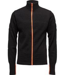 100% wool klemens zip kontrast gebreide trui cardigan zwart mads nørgaard