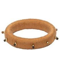 bracelete feminino pé de cravo - marrom
