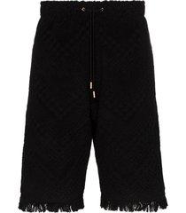 marine serre terry tonal pattern track shorts - black
