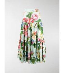 dolce & gabbana floral print tiered maxi skirt