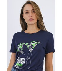 camiseta carmim sneaker azul-marinho - azul marinho - feminino - viscose - dafiti