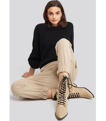 na-kd shoes pointy lace up boots - beige