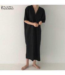 zanzea más el tamaño de las mujeres camisa larga vestido suelto rajó vestido de la playa del tanque vestido de tirantes -negro