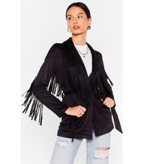 womens faux suede for each other fringe belted jacket - black