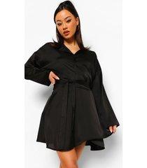 korte blouse en rok met ceintuur, black