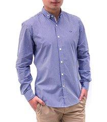 camisa azul oscar de la renta cuadros