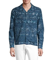 robert graham men's constantia stretch cotton shirt - blue - size xxxl