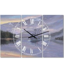 "designart the last frontier oversized traditional 3 panels wall clock - 38"" x 38"" x 1"""