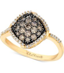 le vian chocolatier diamond halo cluster ring (5/8 ct. t.w.) in 14k gold
