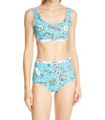 burberry tarnie shark print monogram two-piece swimsuit, size x-small in ink blue at nordstrom